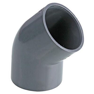 PVC vinkel 45° Ø 63 mm, limmuff